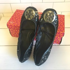 Tory Burch Black Sequin Reva Flats Size 8